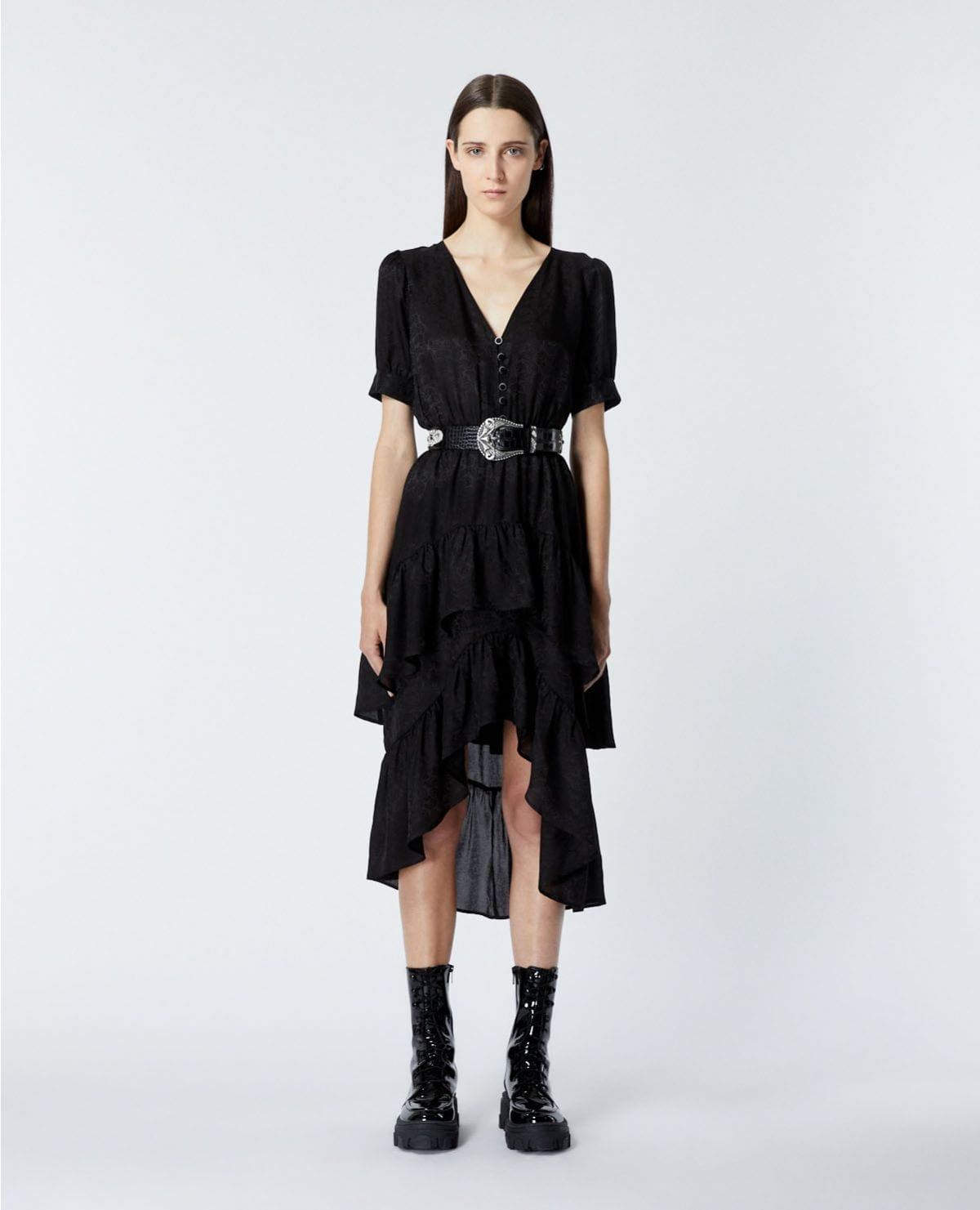 THE KOOPLES Buttoned Jacquard Long Black Dress