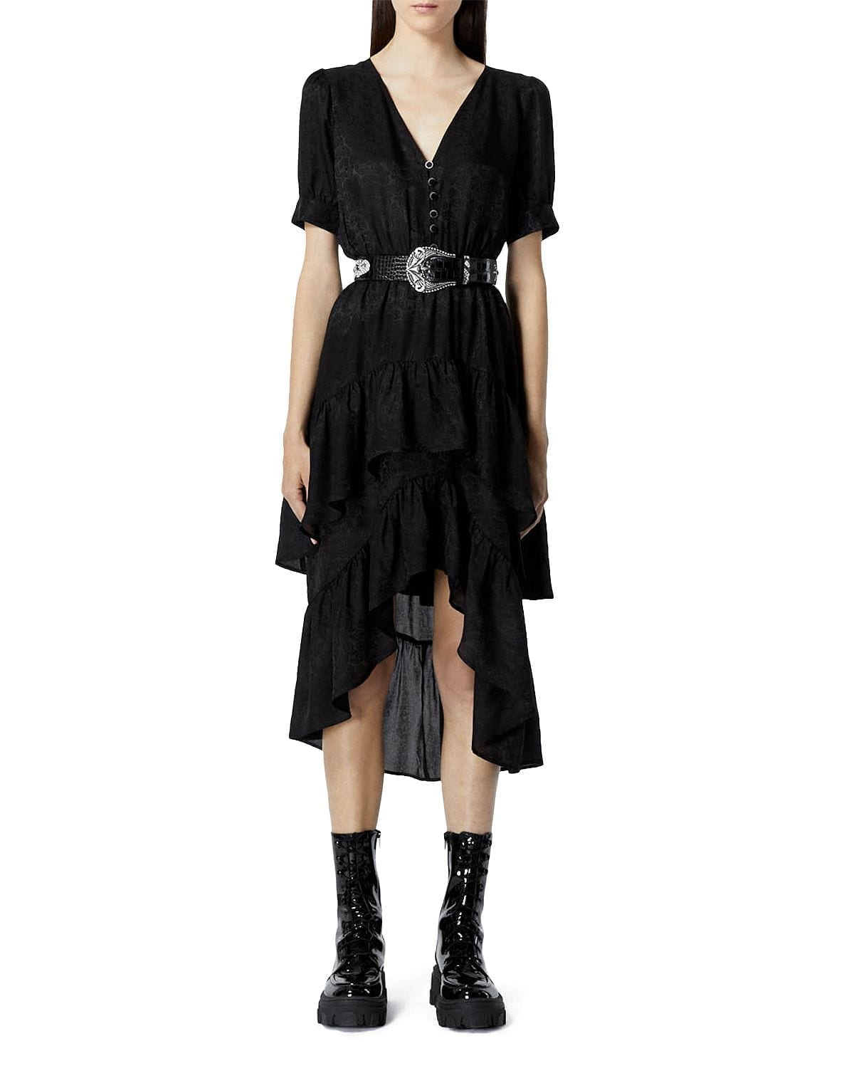 THE KOOPLES Buttoned Jacquard Midi Dress