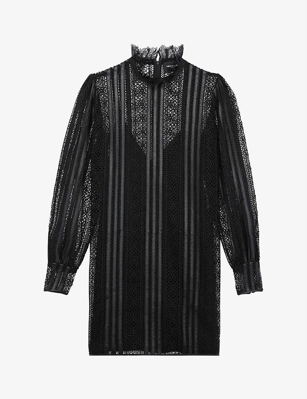 THE KOOPLES Lace And Leather Mini Dress