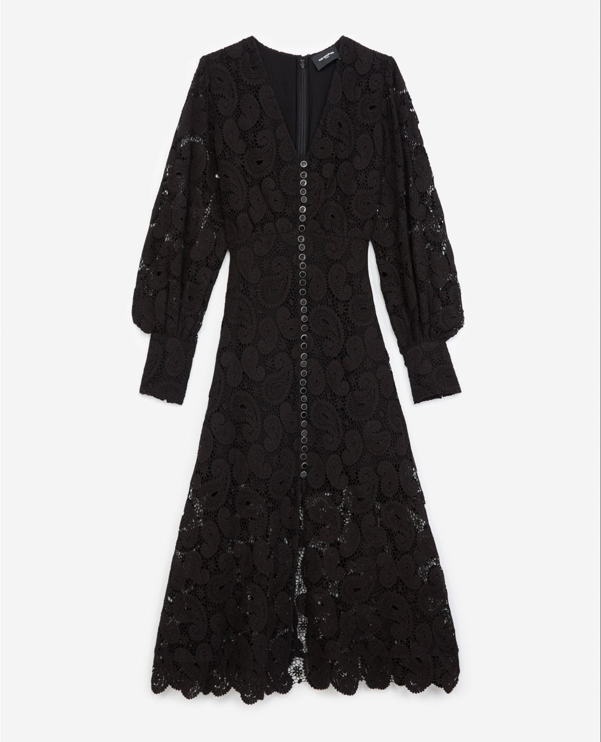 THE KOOPLES Long Buttoned Black Lace Dress
