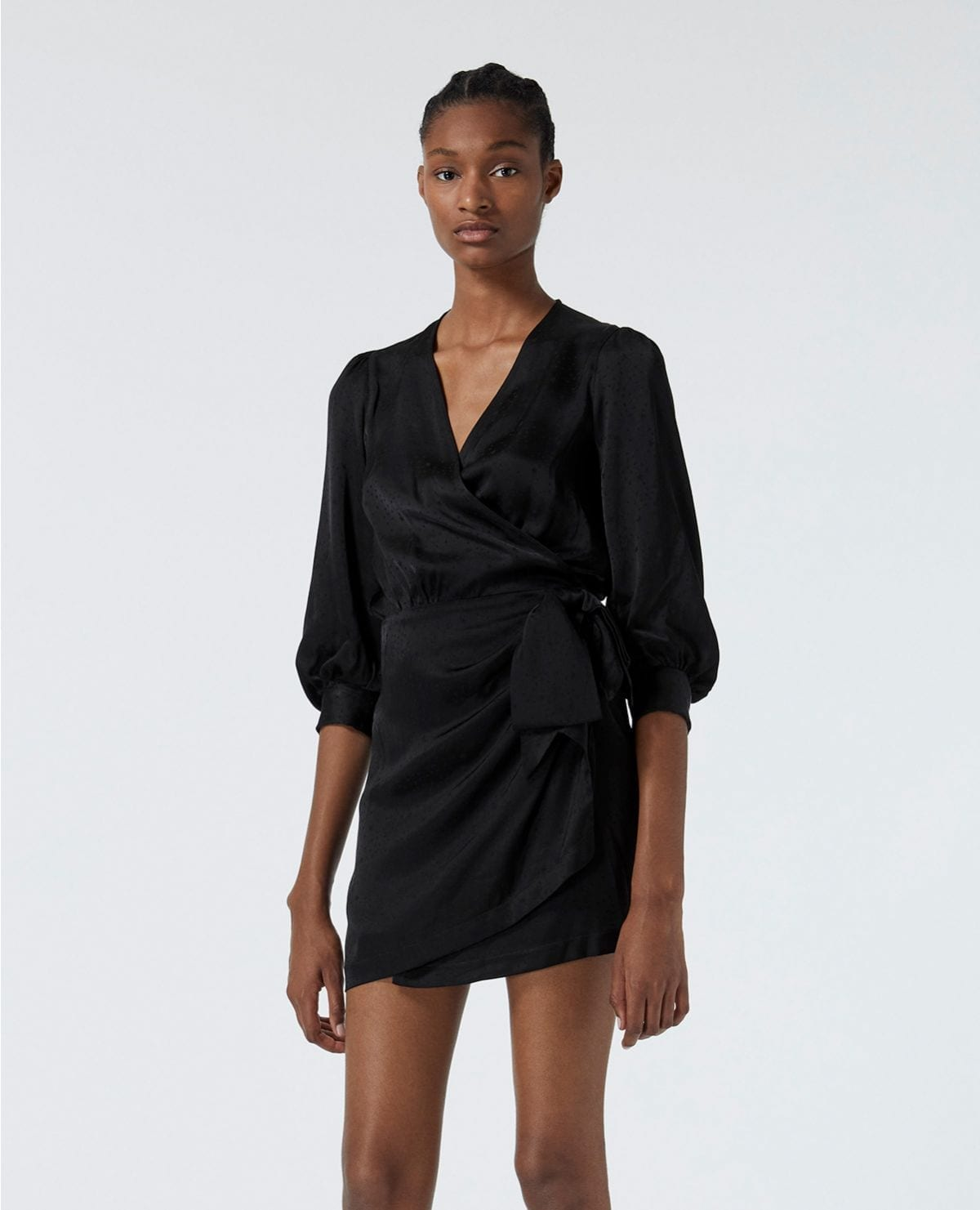 THE KOOPLES Printed Jacquard Black Wrap Dress
