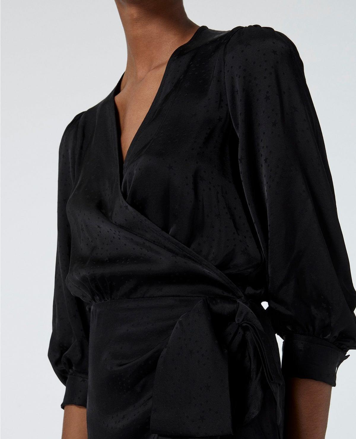 THE KOOPLES Printed Jacquard Black Wrap Dress