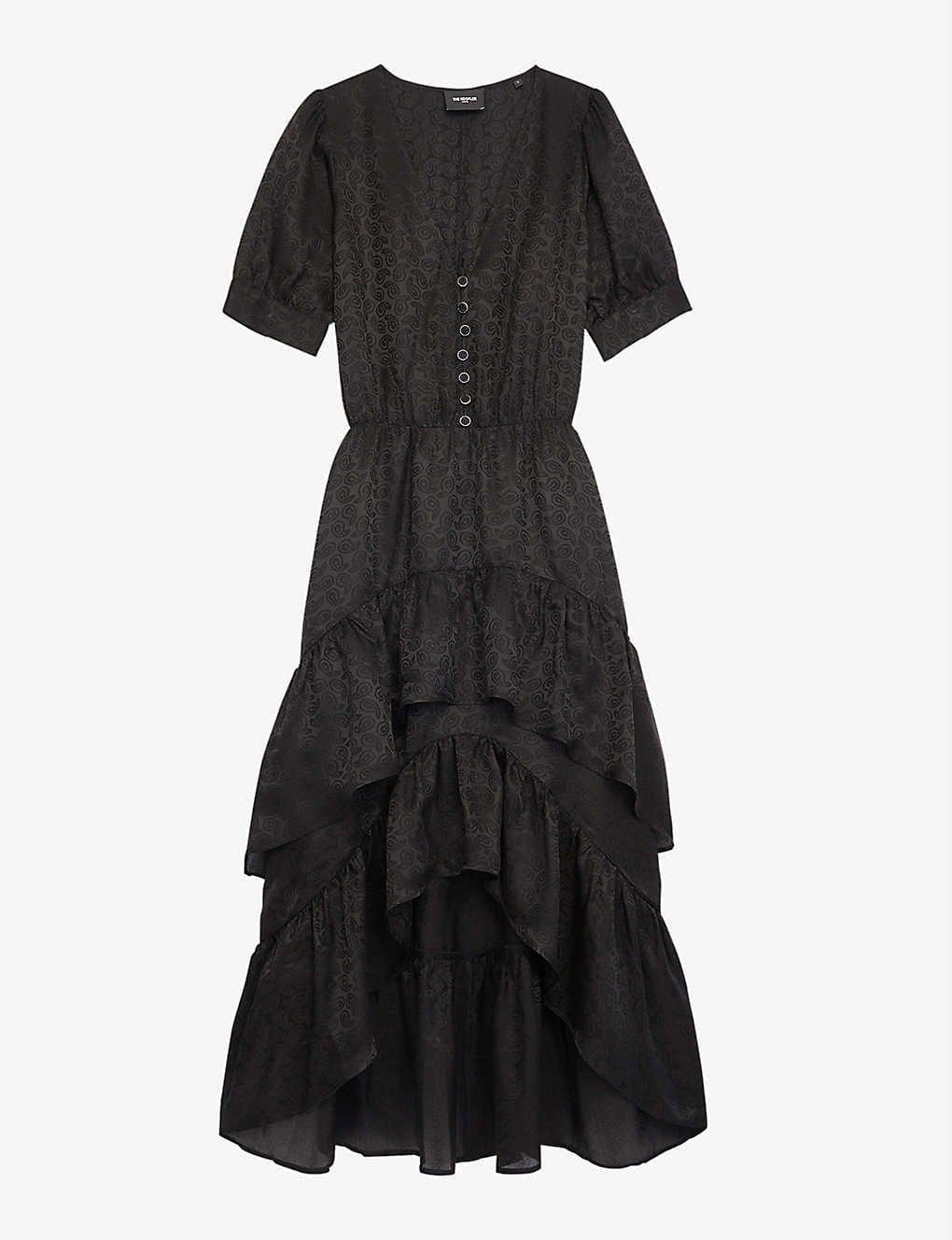 THE KOOPLES Ruffle-tiered Silk-crepe Dress