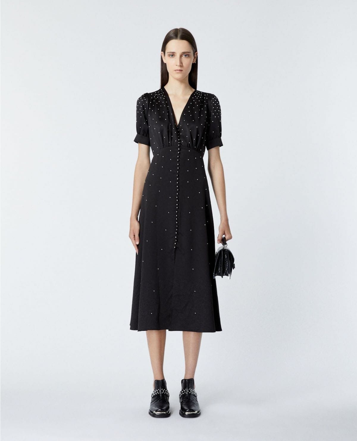THE KOOPLES Satin Long Black Studs Dress