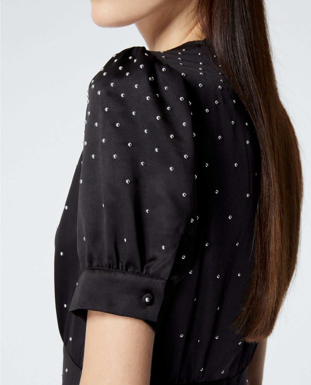 THE KOOPLES Satin Long Black Studs Dress
