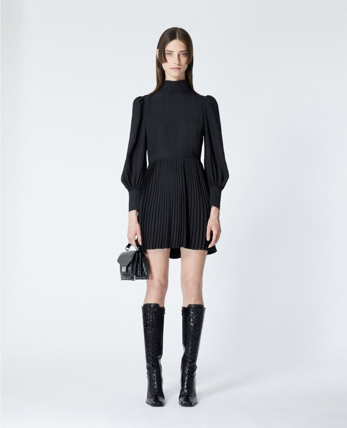 THE KOOPLES Short Pleated Black Dress