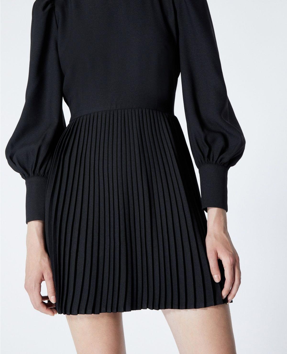 THE KOOPLES Short Pleated Black Dress