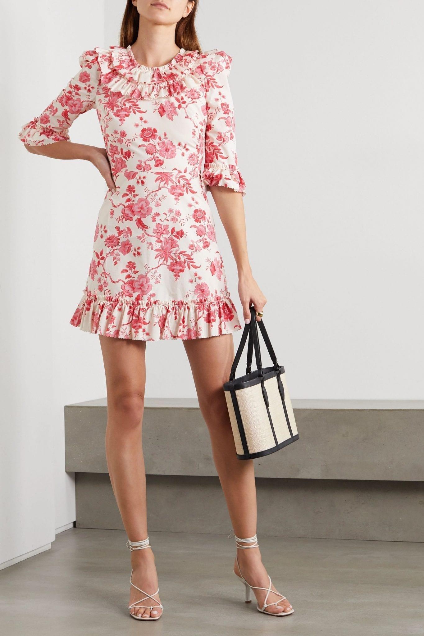 THE VAMPIRE'S WIFE Gloria Ruffled Floral-print Cotton-poplin Mini Dress
