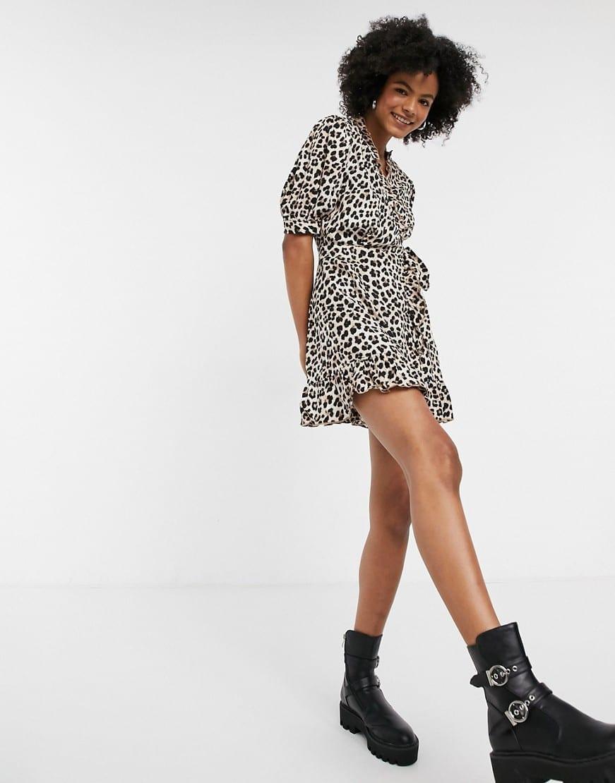 TOPSHOP Animal Print Wrap Midi Dress