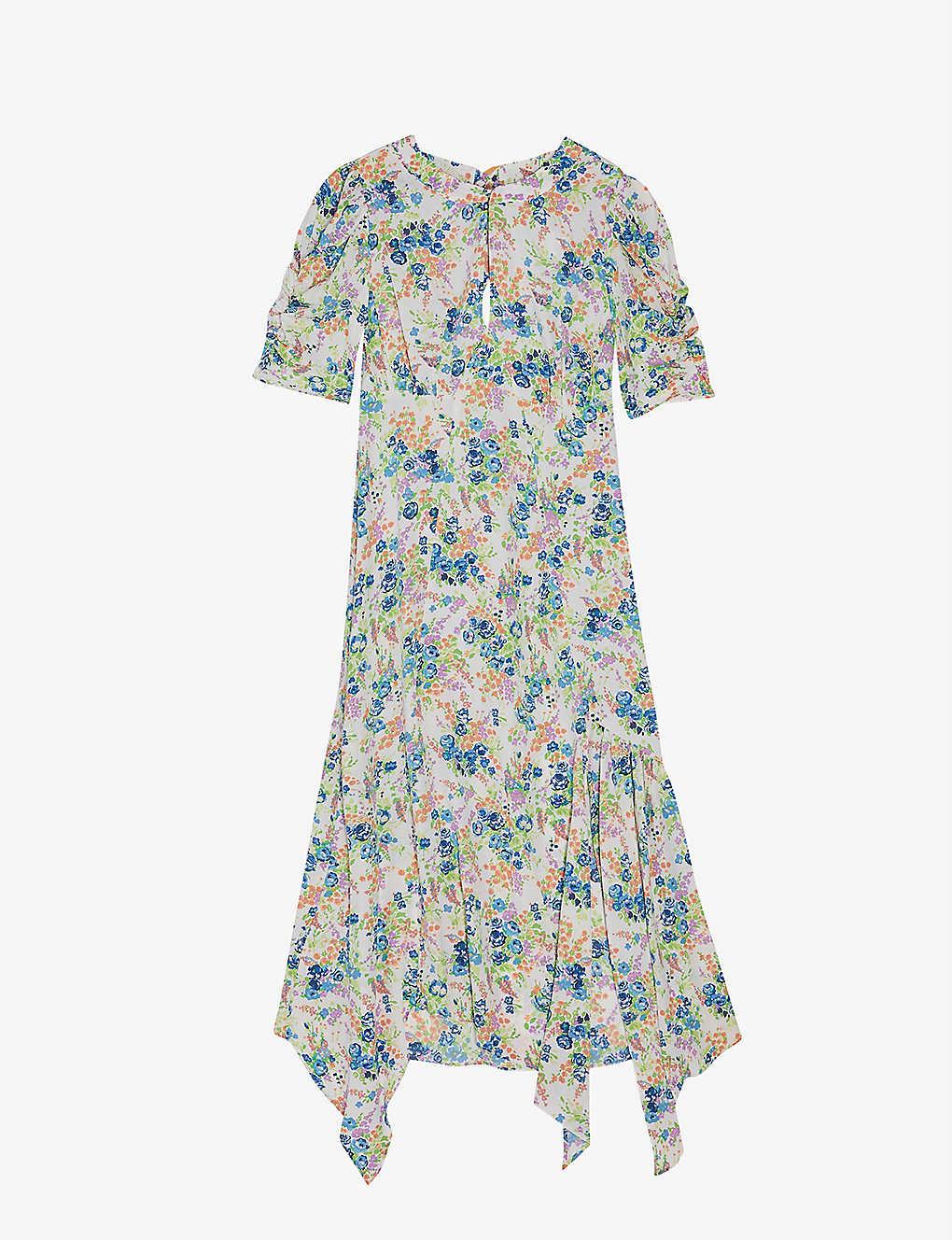 TOPSHOP Floral Print Crepe Midi Dress