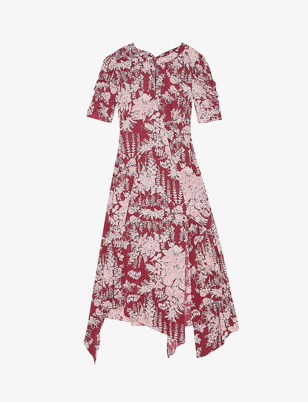 TOPSHOP Floral-print Asymmetric Crepe Dress