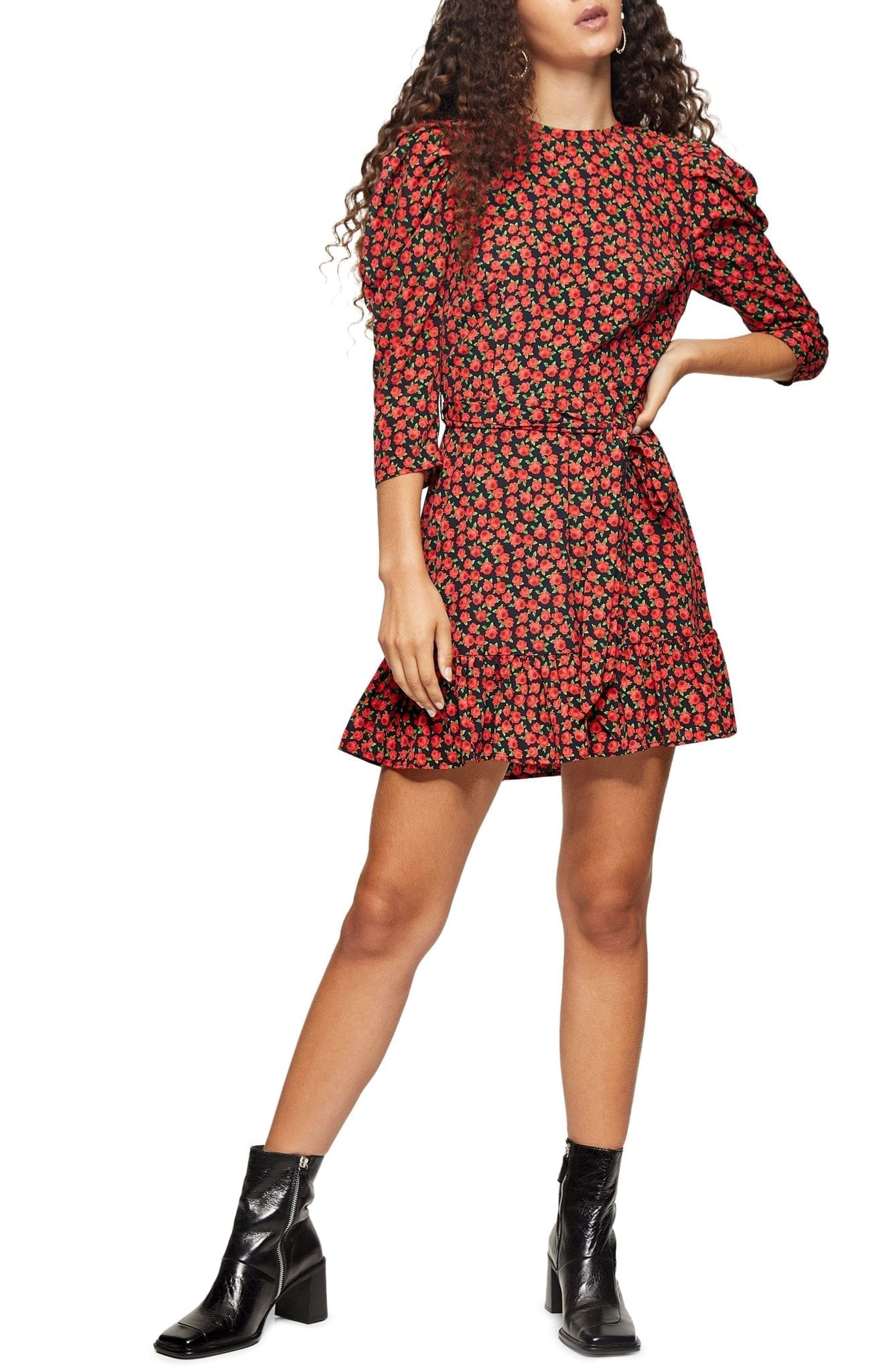 TOPSHOP Grunge Rose Mini Dress