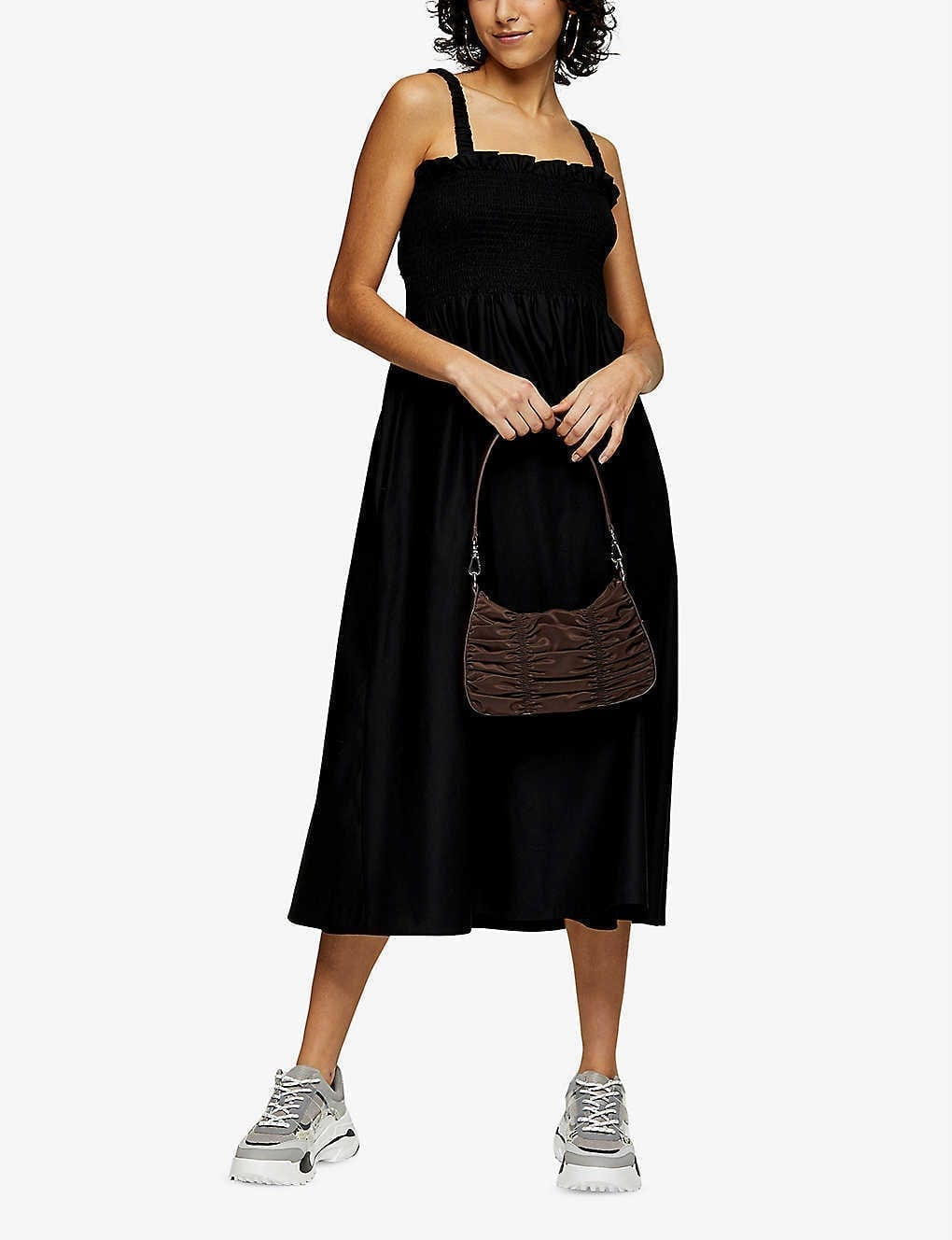 TOPSHOP Shirred Cotton-poplin Midi Dress