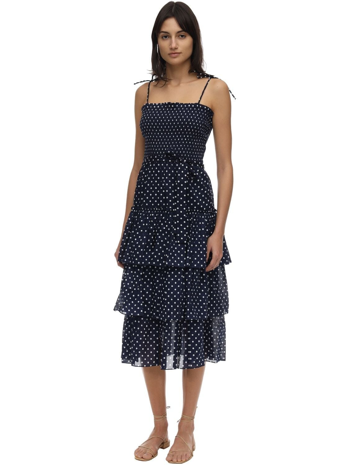 TORY BURCH Ruffled Polka Dot Cotton Voile Dress