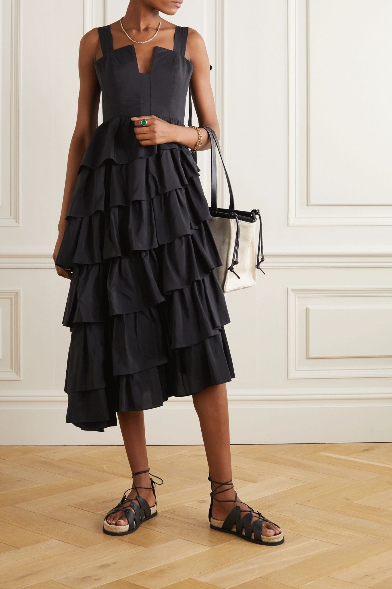 ULLA JOHNSON Valentina Ruffed Tiered Duchesse Silk-satin Midi Dress