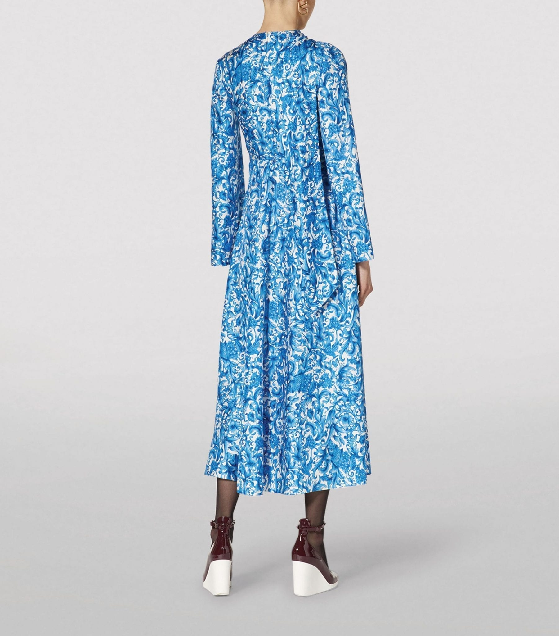 VALENTINO Azulejos Print Midi Dress