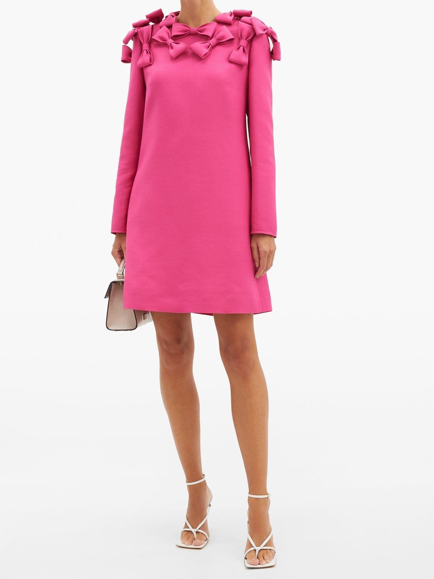 VALENTINO Bow-trim Wool-blend Cady Mini Dress