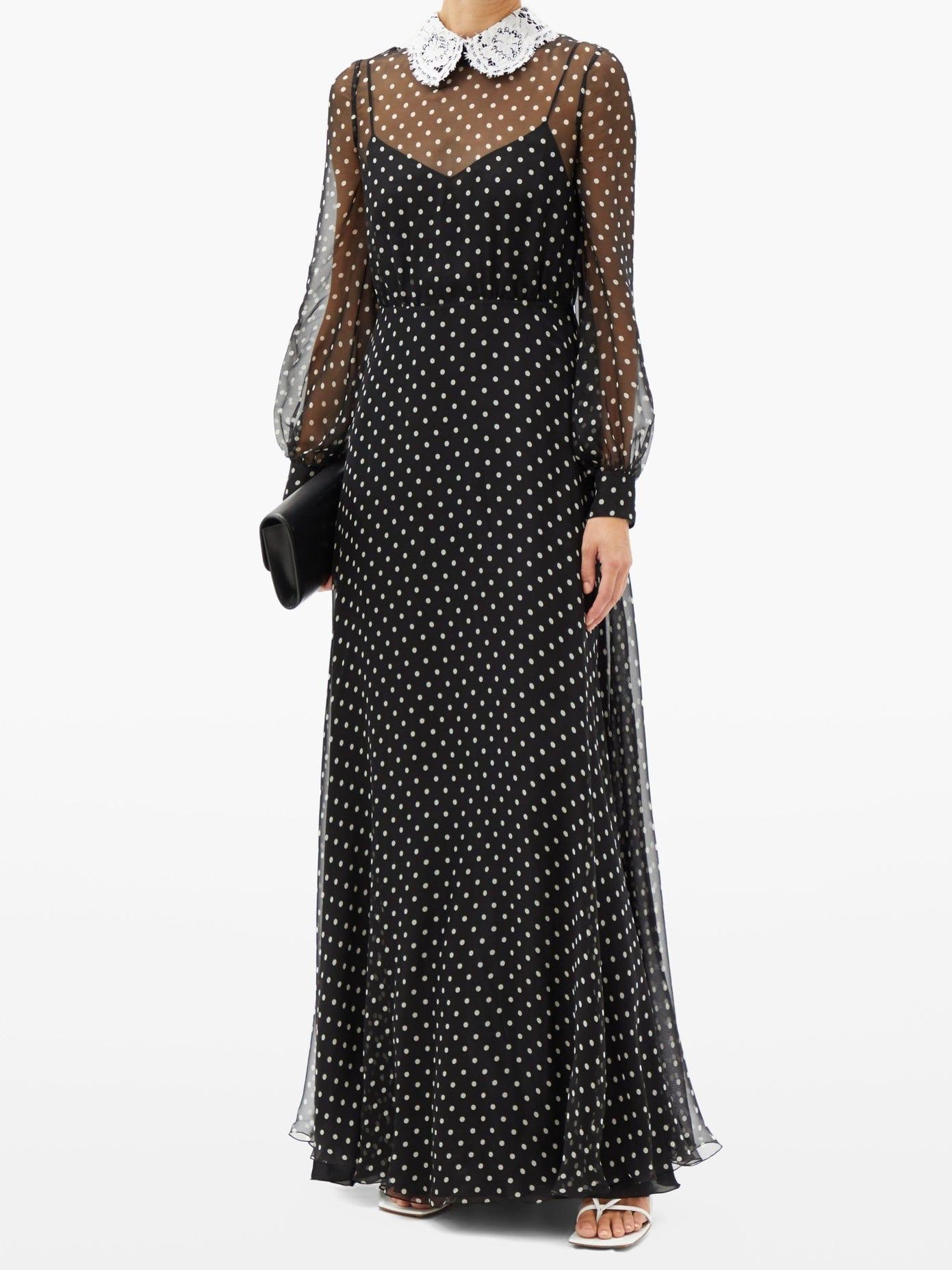 VALENTINO Lace-collar Polka-dot Chiffon Gown