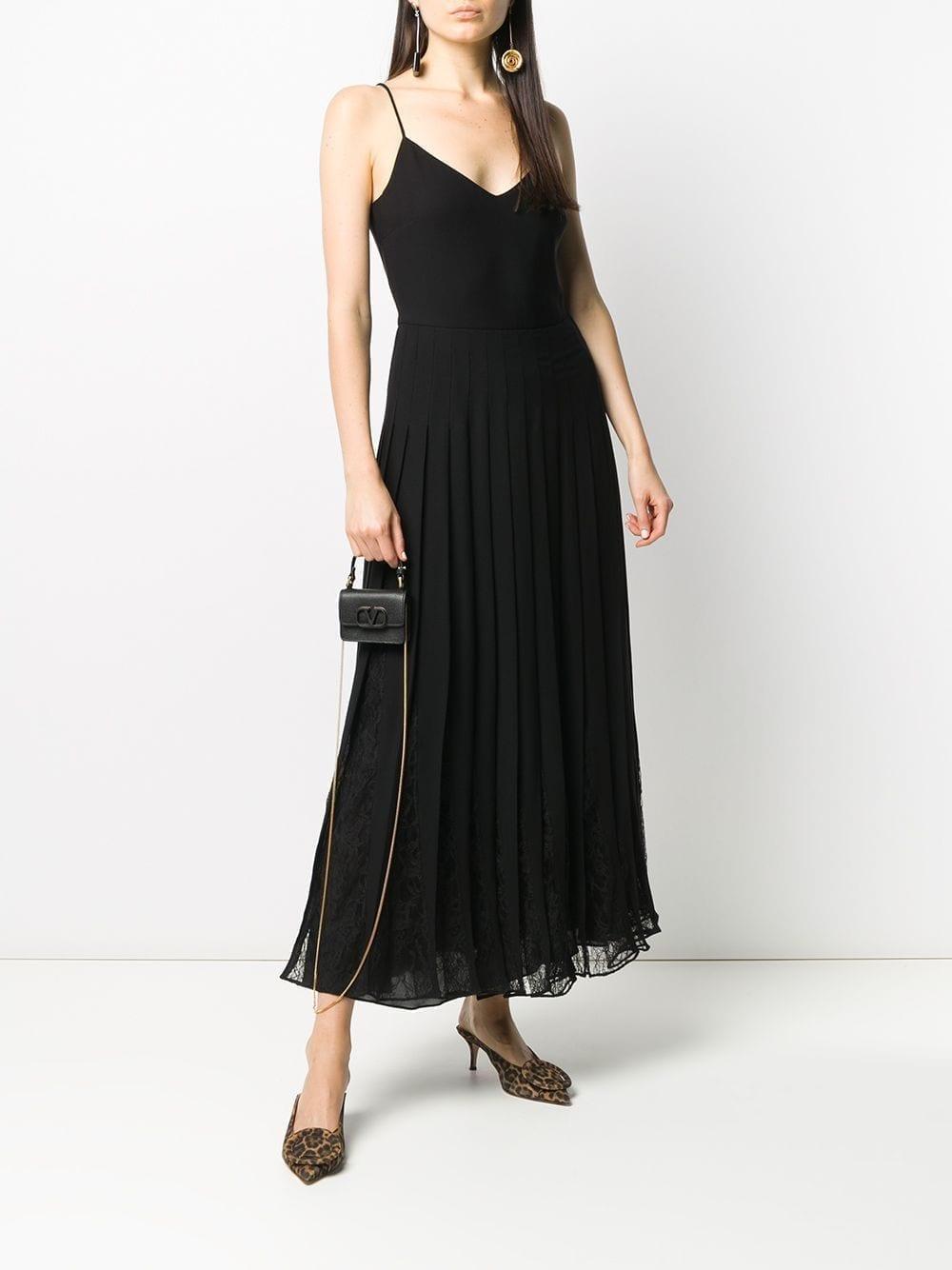 VALENTINO Lace-trim V-neck Long Dress