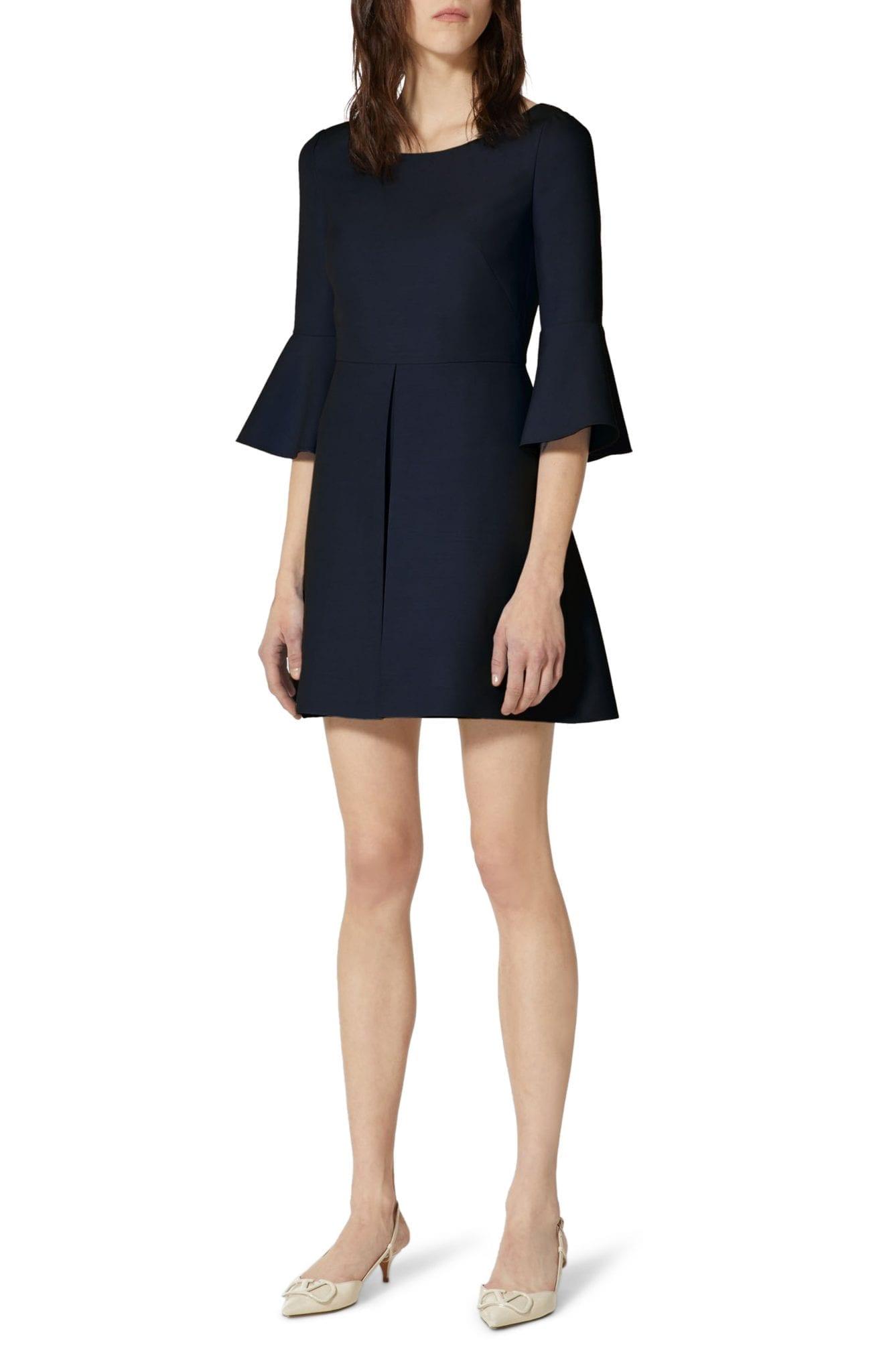 VALENTINO Trumpet Sleeve Virgin Wool & Silk Mini Dress