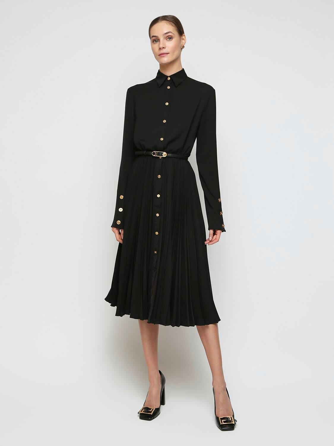 VERSACE Pleated Shiny Jersey Shirt Dress
