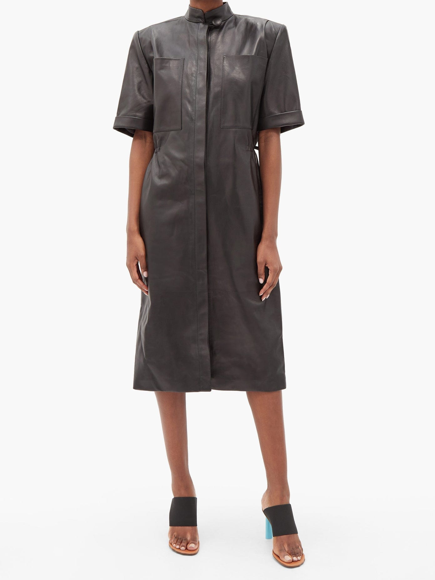 VETEMENTS Exaggerated-shoulder Leather Shirt Dress
