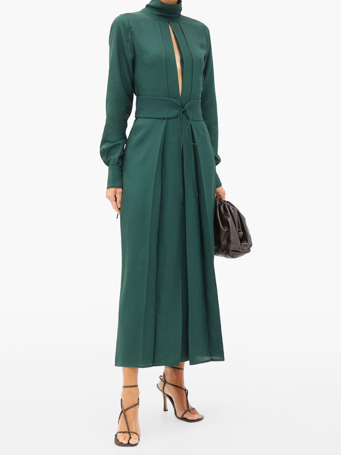 VICTORIA BECKHAM Front-slit Belted Satin-twill Dress