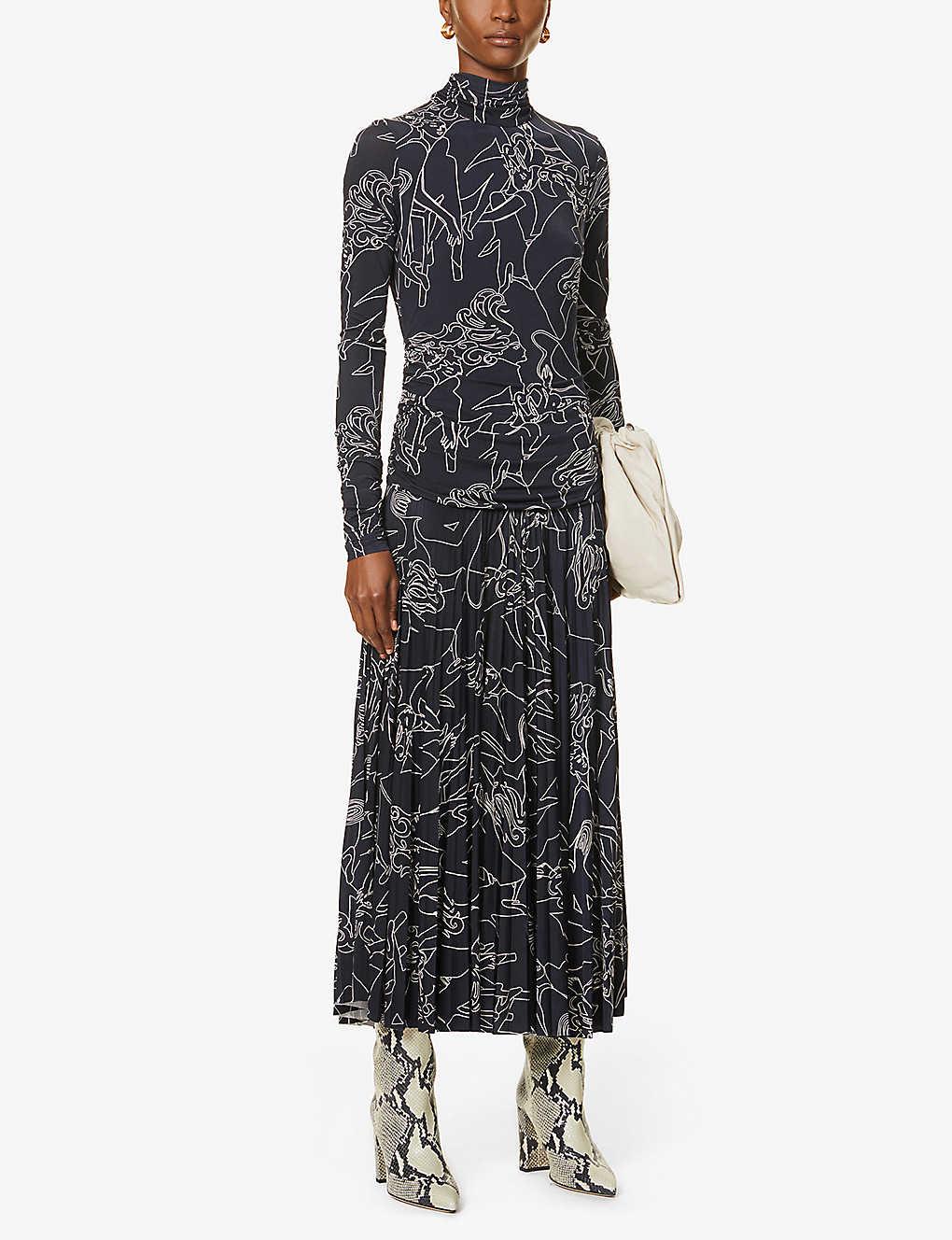 VICTORIA BECKHAM Graphic-print Stretch-woven Midi Dress