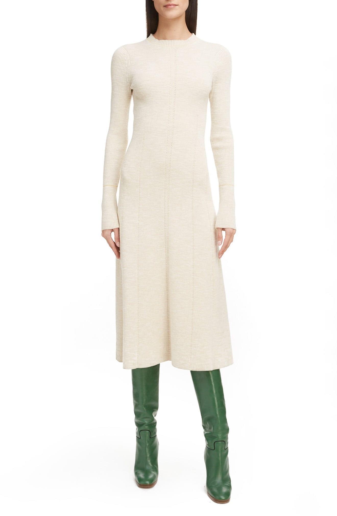 VICTORIA BECKHAM Long Sleeve Fit & Flare Sweater Dress