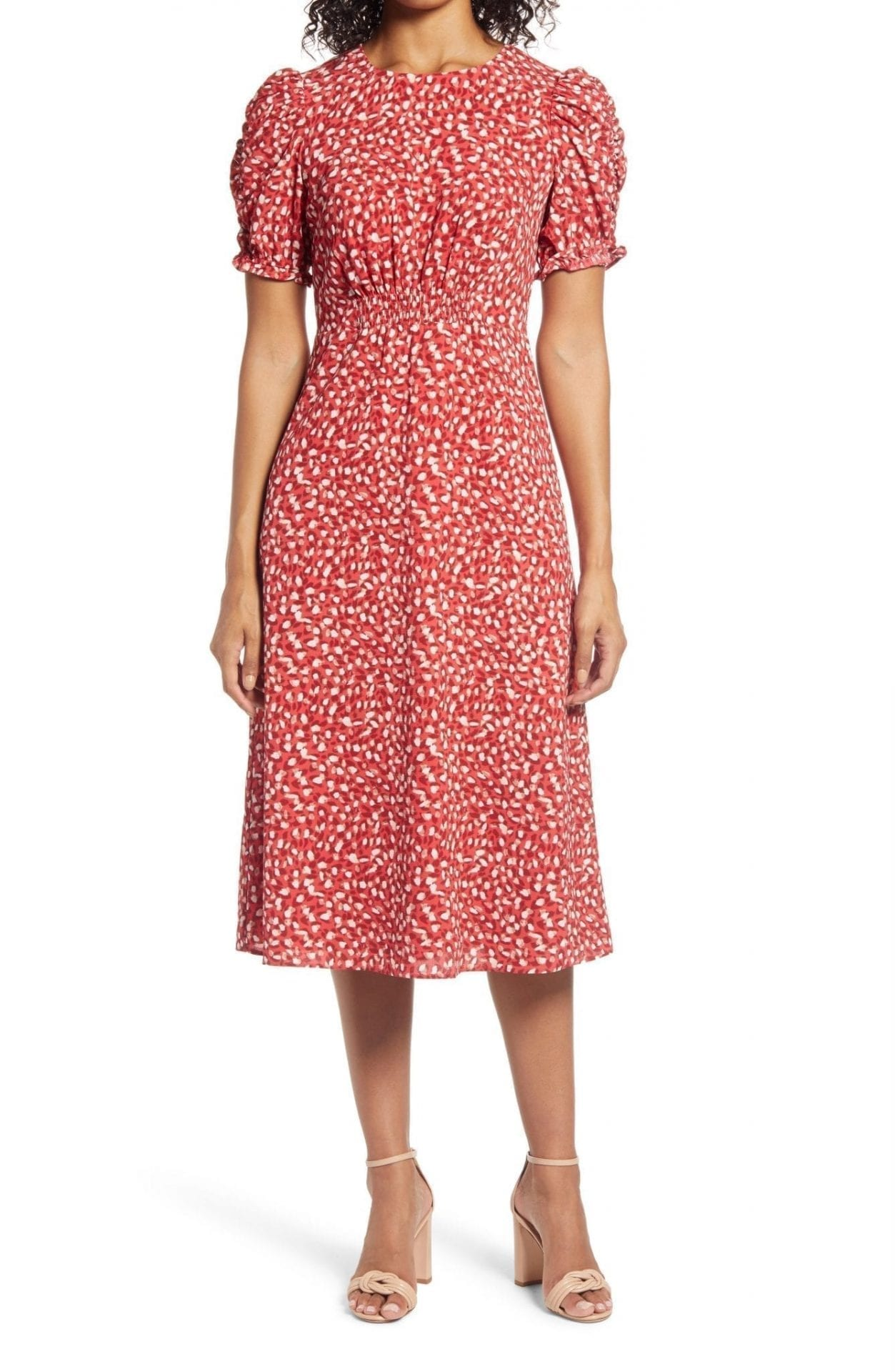 VINCE CAMUTO Print Chiffon Midi Dress
