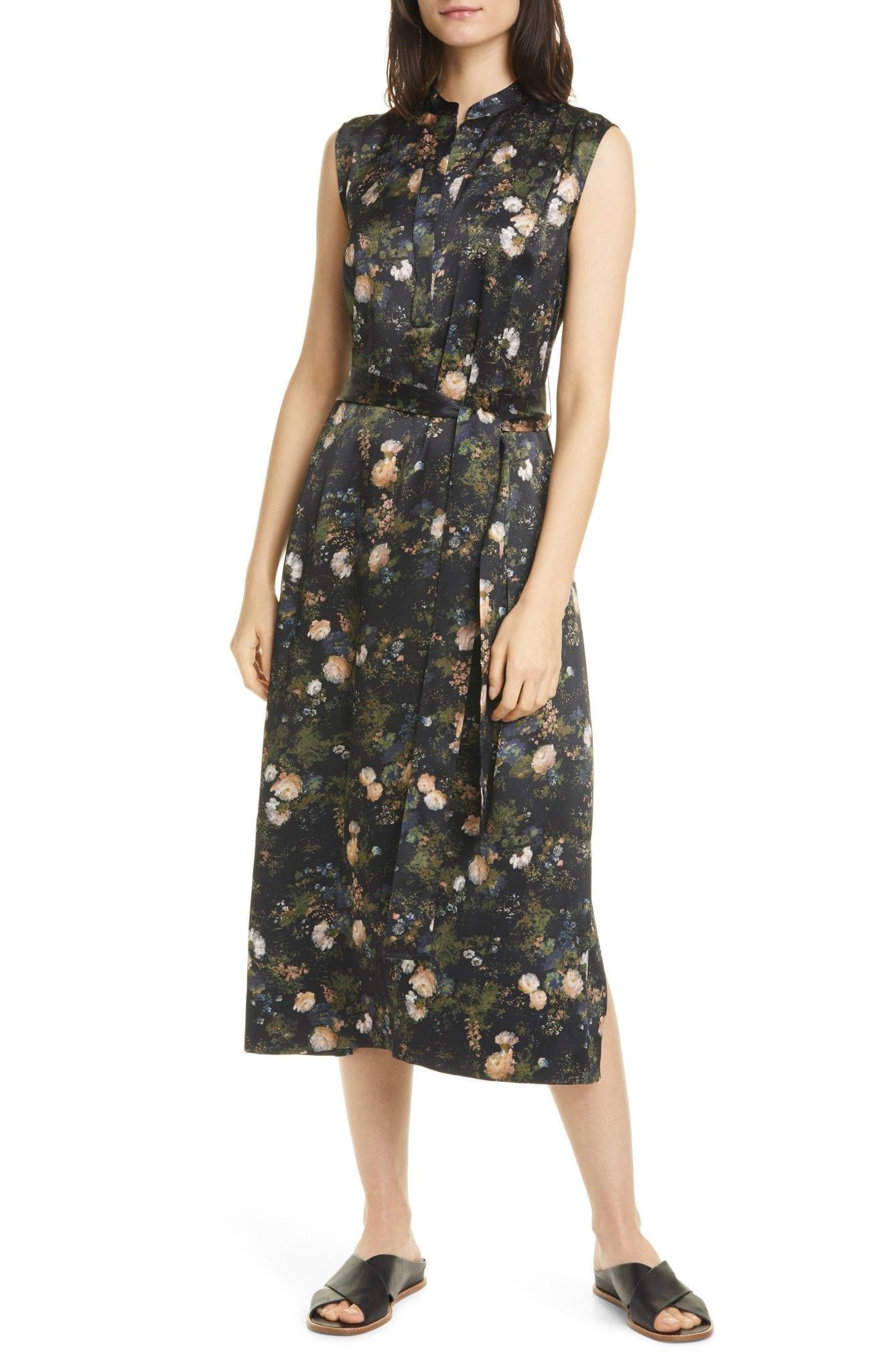VINCE Rose Field Sleeveless Popover Midi Dress
