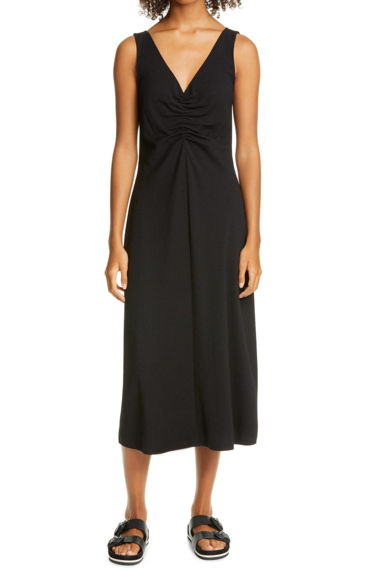 VINCE Ruched Neck Sleeveless Dress