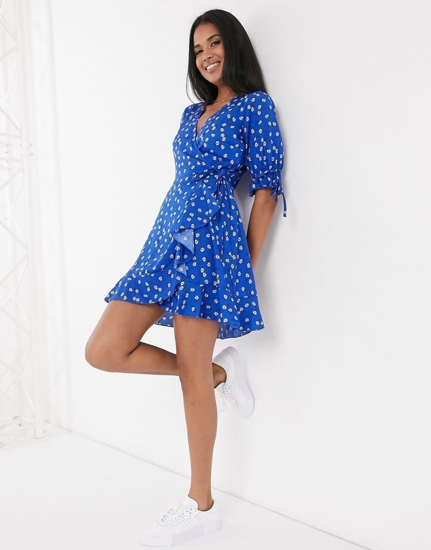 WEDNESDAY'S GIRL Mini Wrap Dress