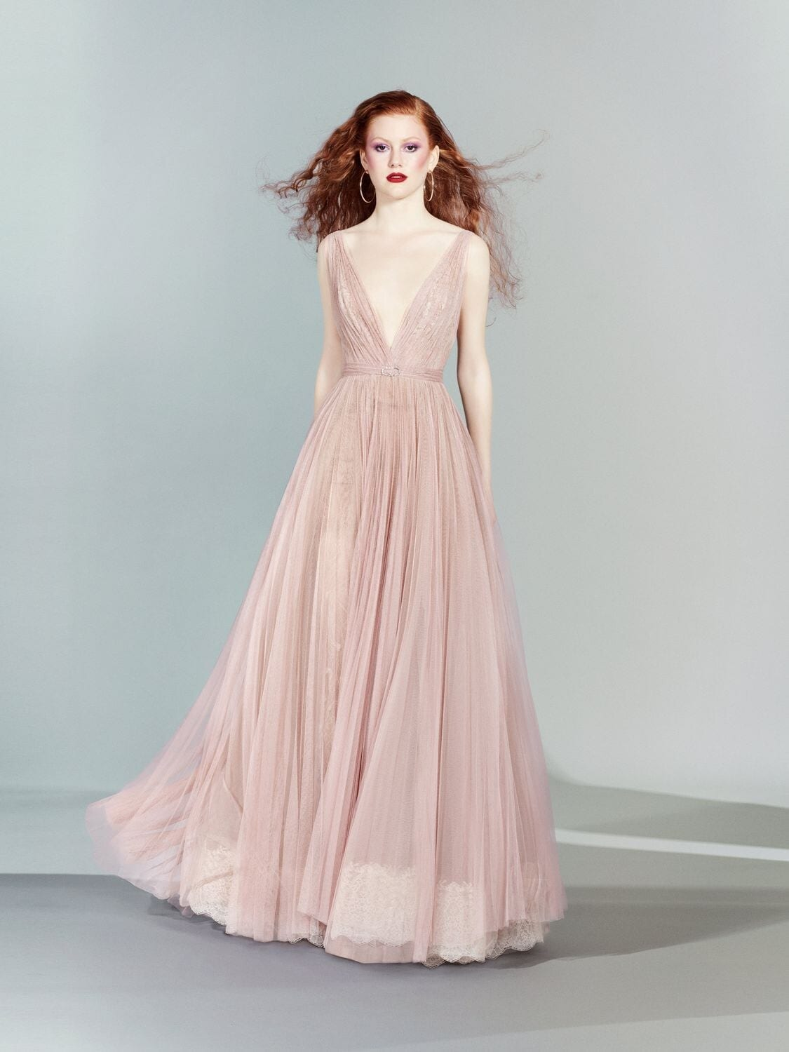 YOLANCRIS V Neck Tulle Long Dress