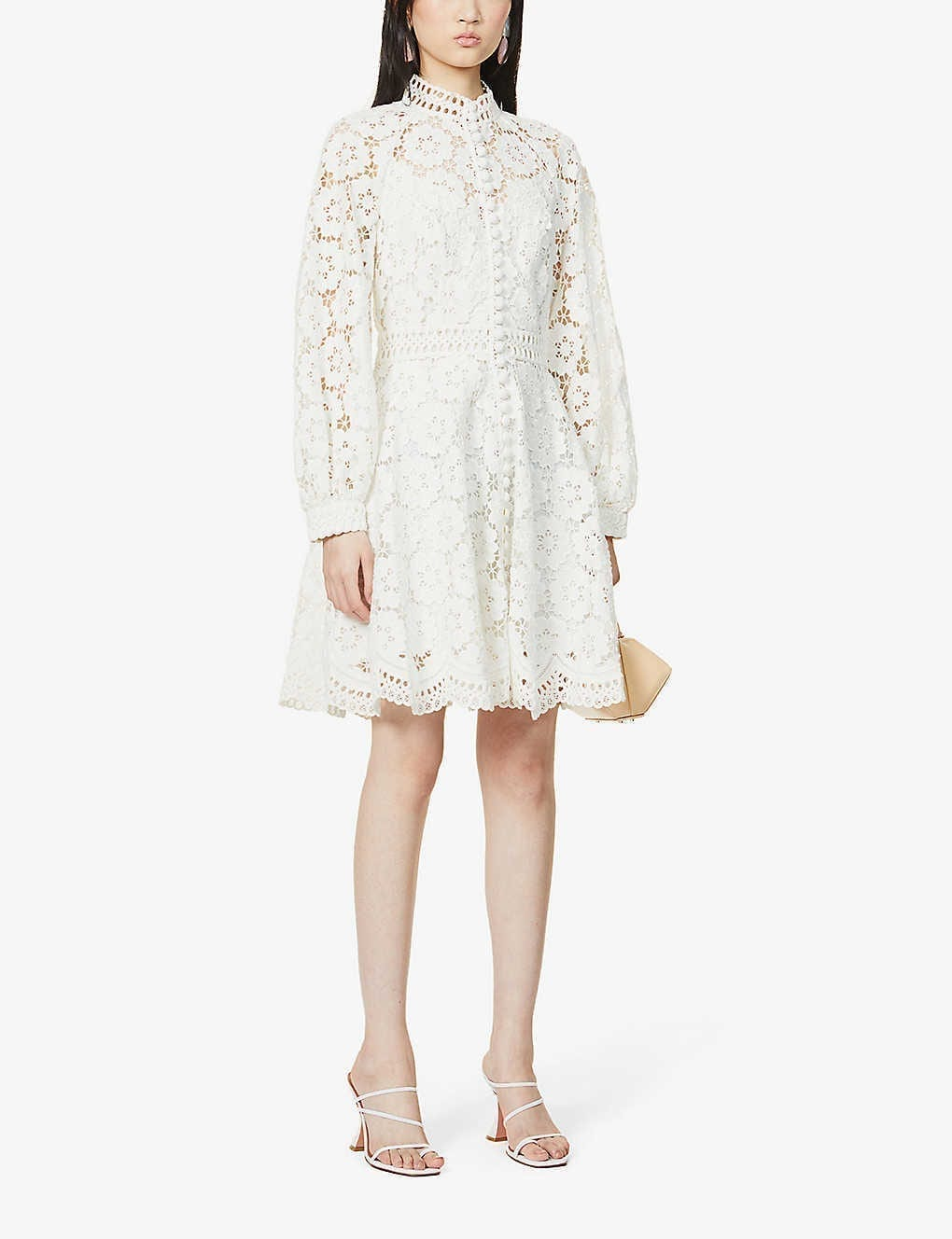 ZIMMERMANN Bells Floral-embroidered Linen And Cotton-blend Mini Dress