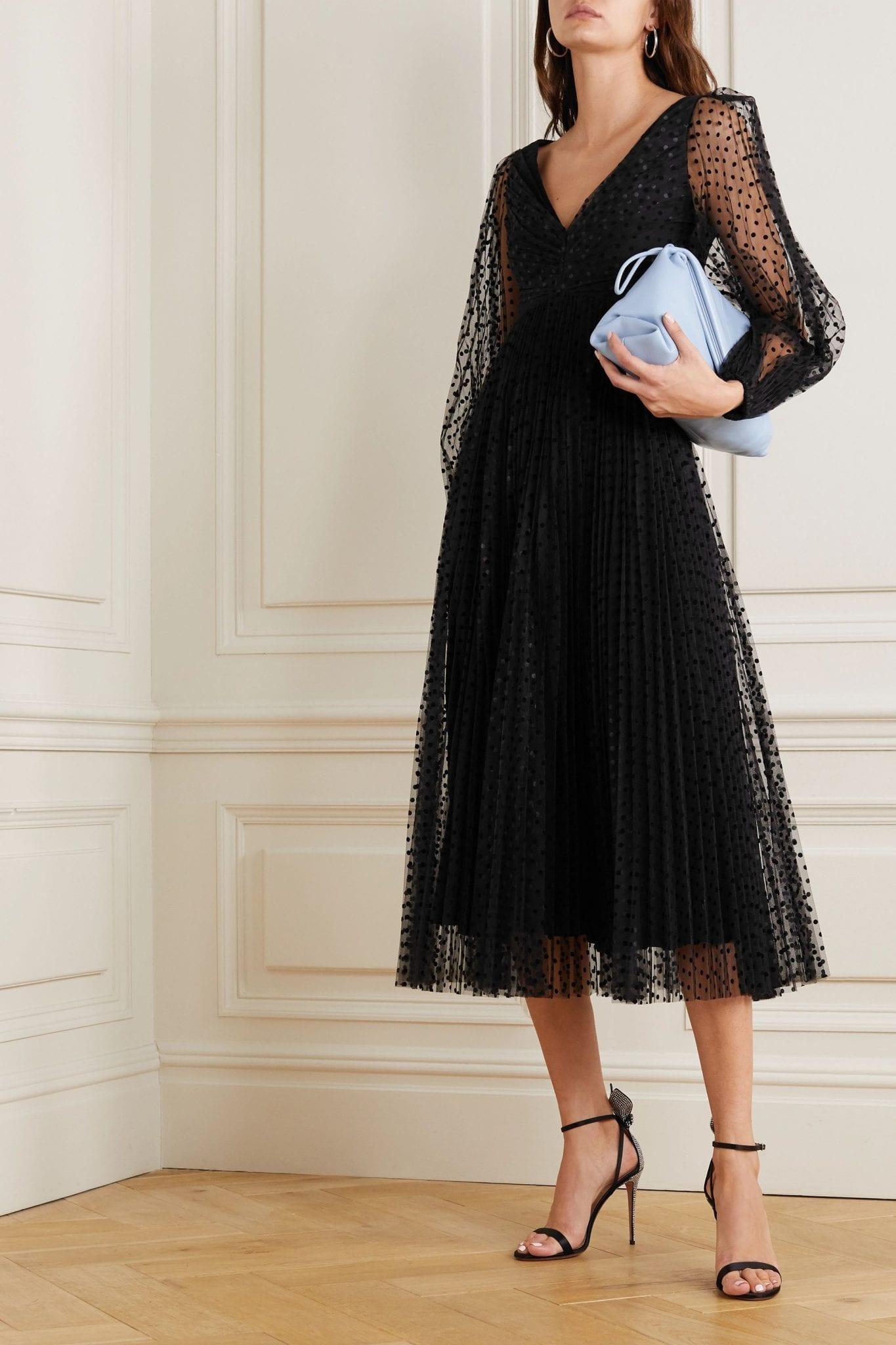 ZIMMERMANN Charm Pleated Polka-dot Flocked Tulle Midi Dress