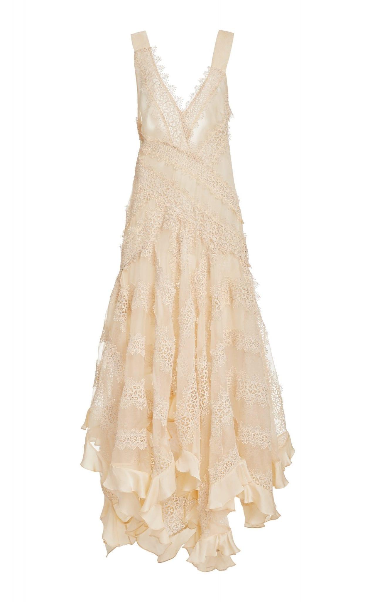 ZIMMERMANN Charm Star Ruffled Silk Slip Dress