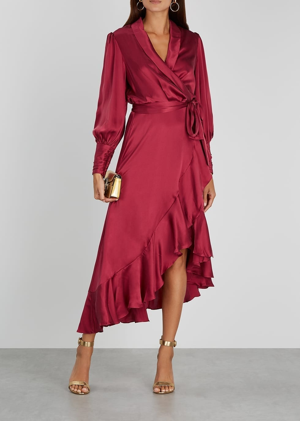 ZIMMERMANN Dark Red Ruffle-trimmed Silk Wrap Dress