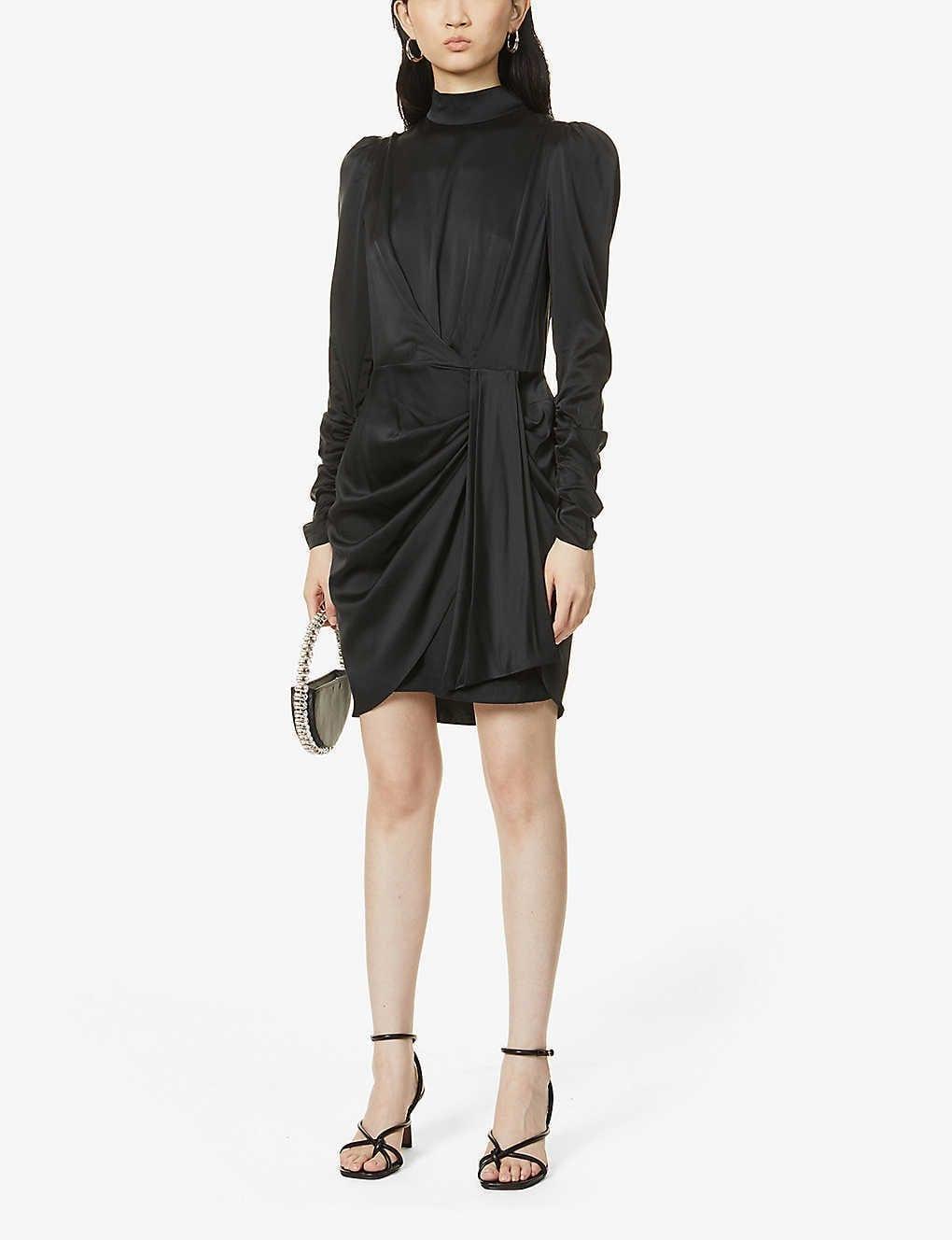 ZIMMERMANN High-neck Draped Silk-blend Mini Dress