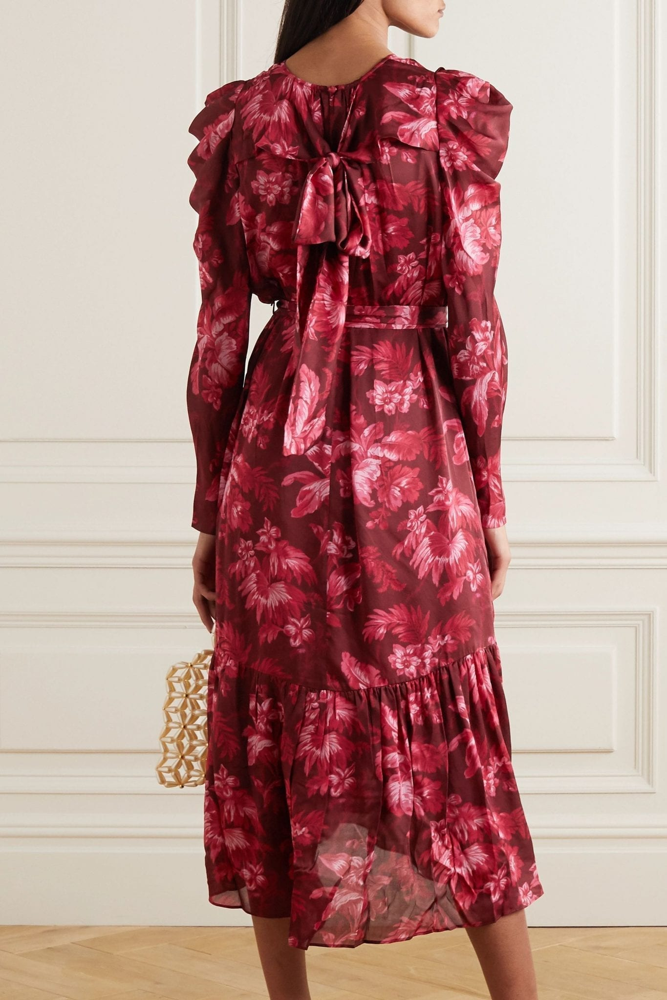 ZIMMERMANN Ladybeetle Gathered Floral-print Silk-chiffon Midi Dress