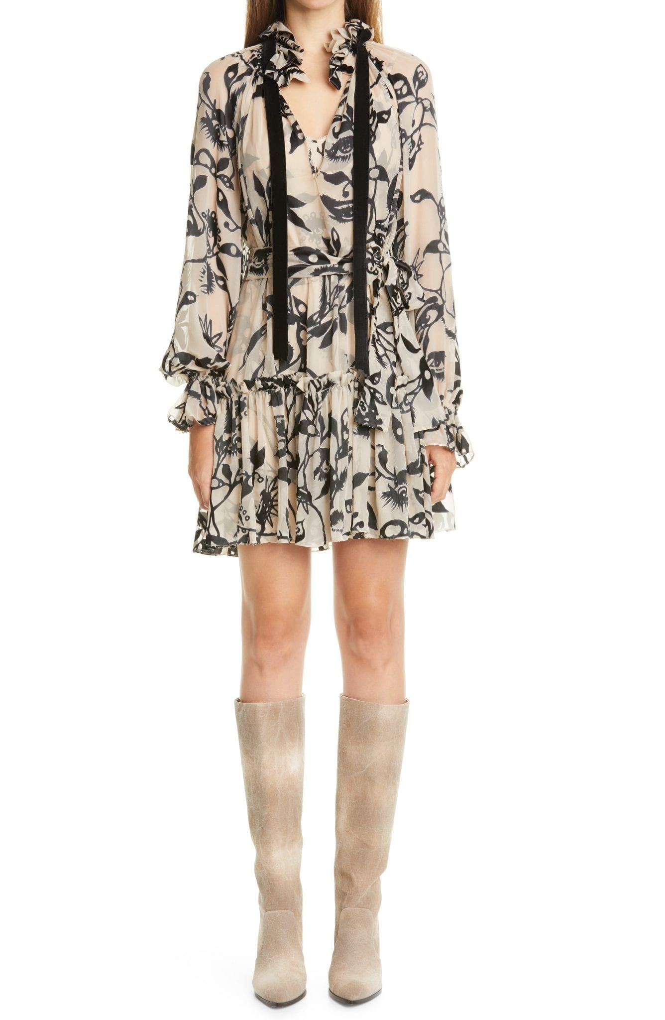 ZIMMERMANN Ladybeetle Tie Neck Long Sleeve Mini Dress