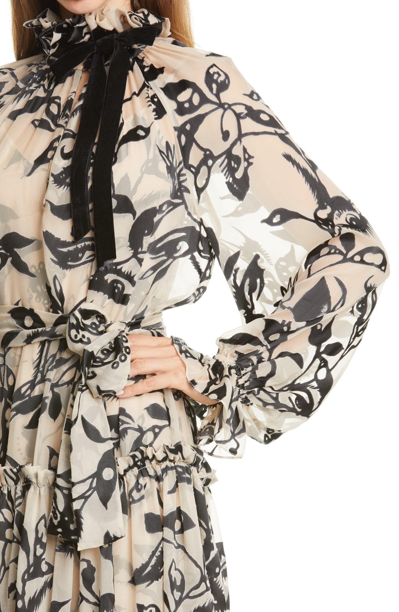 ZIMMERMANN Ladybeetle Tie Neck Long Sleeve Mini Dress