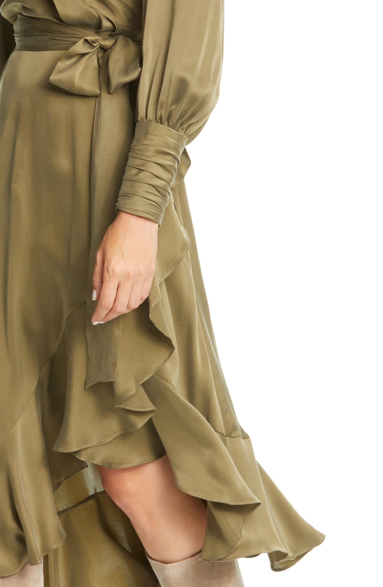 ZIMMERMANN Long Sleeve Silk Satin Wrap Dress