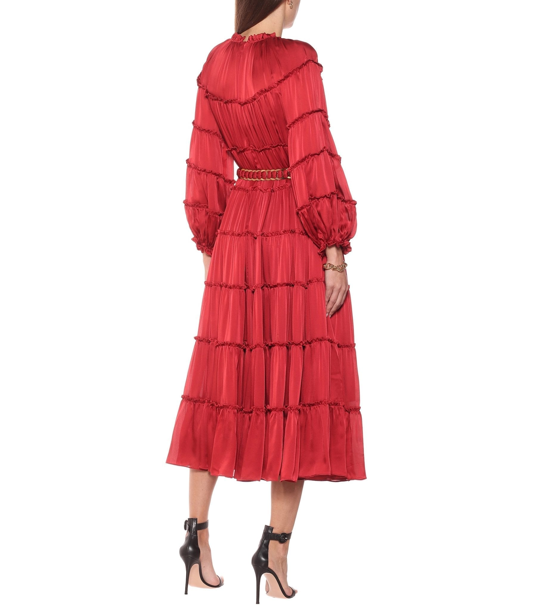 ZIMMERMANN Tiered Silk Midi Dress