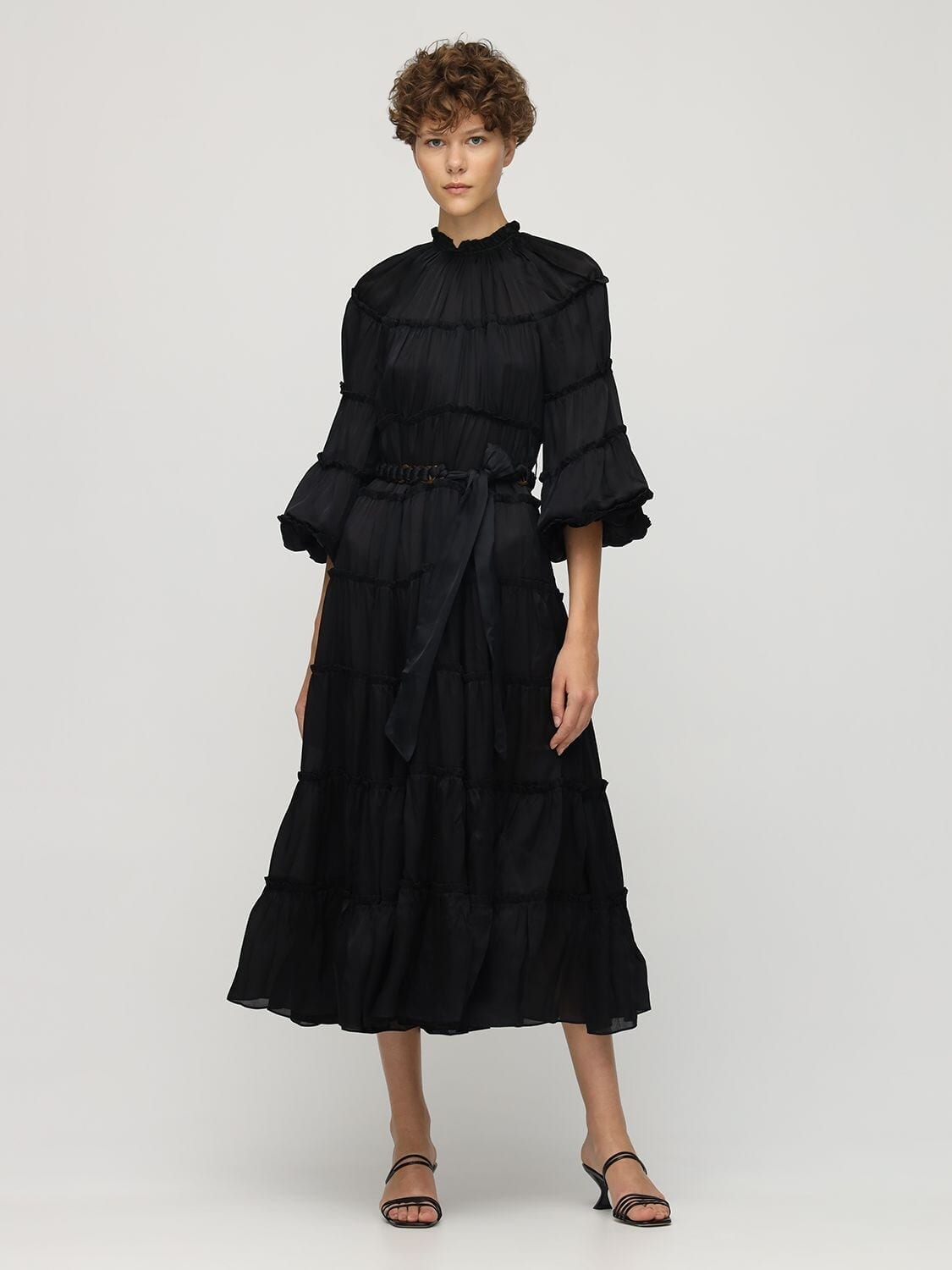 ZIMMERMANN Tiered Silk Satin Midi Dress