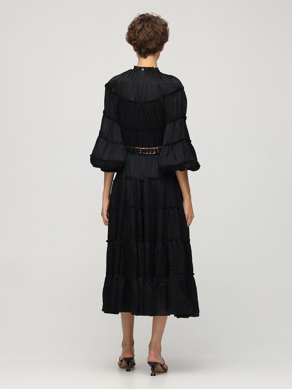 ZIMMERMANN Tiered Silk Satin Midi Dress