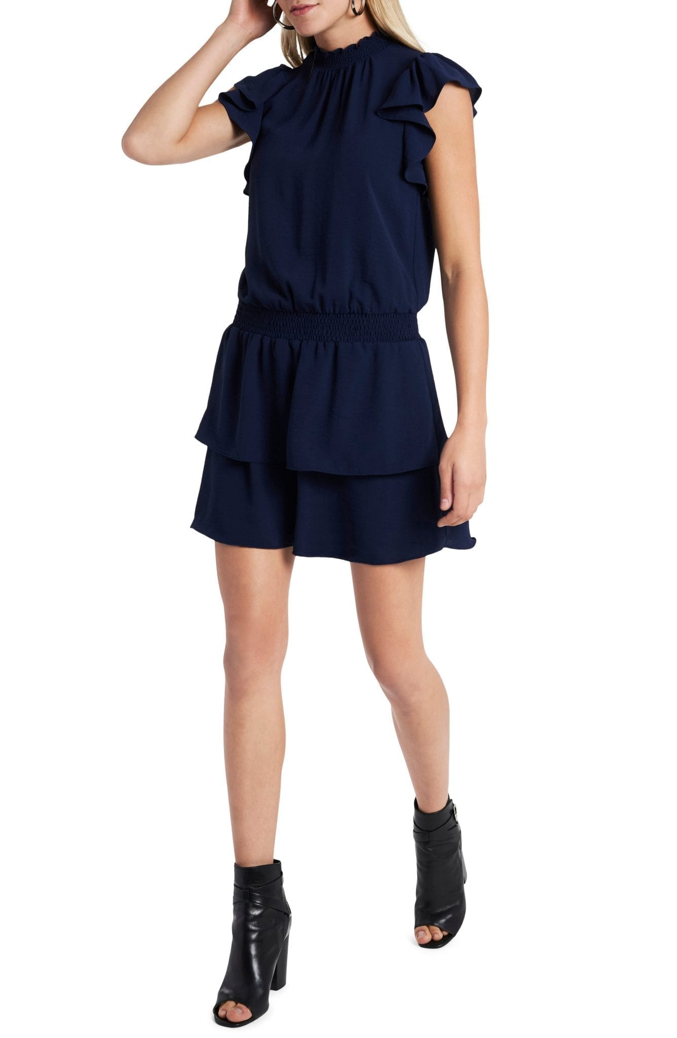 1.STATE Flutter Sleeve High Neck Tiered Dress