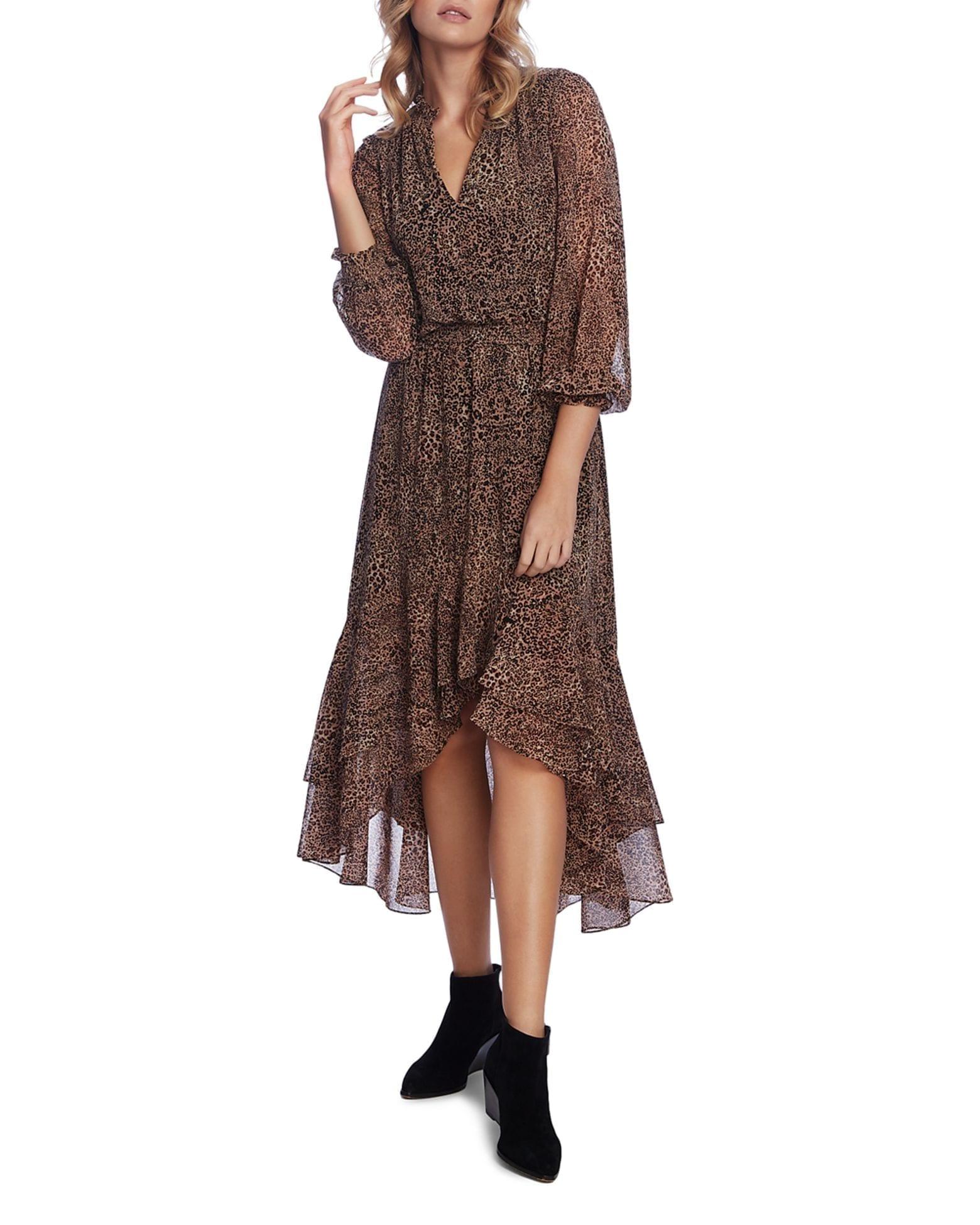 1.STATE Leopard-Print High Low Maxi Dress