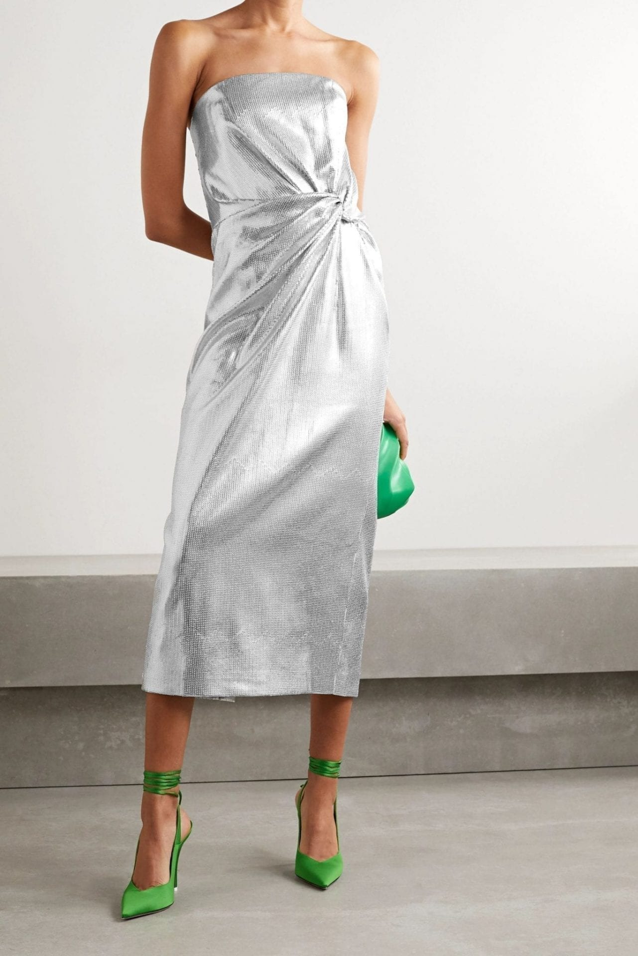 16ARLINGTON Himawari Strapless Knotted Sequined Crepe Midi Dress