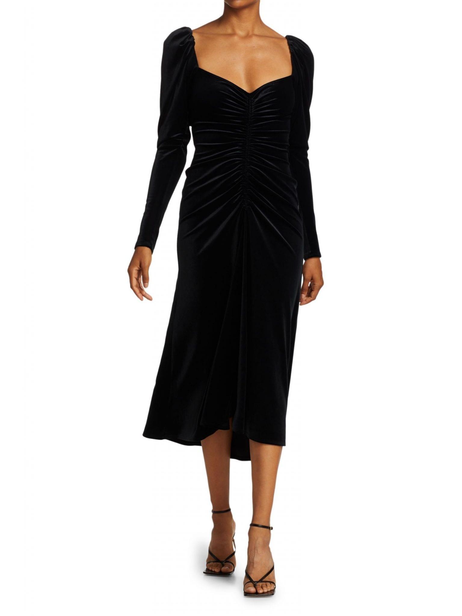 A.L.C. Chamberlain Puff-Sleeve Velvet Midi Dress